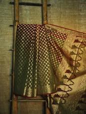 Regal green and red Banarasi saree