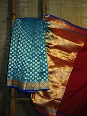 Sapphire Blue And Gold Banarasi Saree - BANARASI STYLE