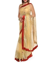 Luxe Gold Net Saree With Maroon Border - Aggarwal Sarees