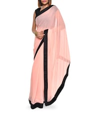 Sheer Peach Georgette Saree - Aggarwal Sarees