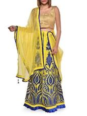 Embroidered Yellow Net Lehenga Set - Aggarwal Sarees