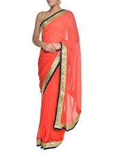 Orange Georgette Bridal Saree With Gold Border - Aggarwal Sarees