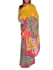Striped Yellow And Grey Georgette Saree - Aggarwal Sarees
