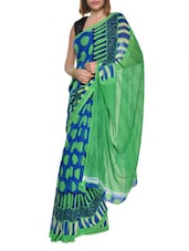 Printed Green And Blue Georgette Saree - Aggarwal Sarees