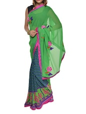Multi Print Green Georgette Saree - Aggarwal Sarees
