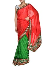 Contrast Red And Green Georgette Saree - Aggarwal Sarees