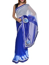 Regal Blue And Grey Georgette Saree - Aggarwal Sarees