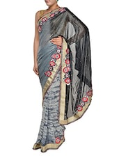 Grey And Black Luxe Georgette Saree - Aggarwal Sarees