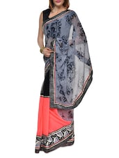 Floral Print Grey And Coral Georgette Saree - Aggarwal Sarees