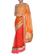 Fiery Orange And Red Georgette Saree - Aggarwal Sarees