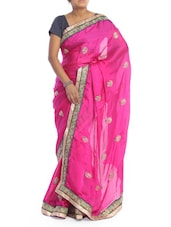 Bright Pink Saree With Gold Patterns - Saraswati
