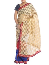 Beige And Royal Blue Patterned Saree - Saraswati