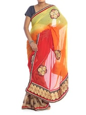 Red, Yellow And Orange Chiffon Saree - Saraswati