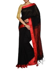 Classy Black Saree With Maroon Pallu - Cotton Koleksi