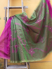 Green And Magenta Half And Half Design Madhabilata Saree - Cotton Koleksi