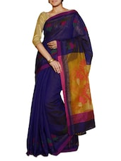 Blue Saree With A Yellow And Purple Pallu - Cotton Koleksi