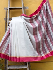 White And Pink Pakwan Cotton Saree - Cotton Koleksi