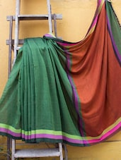 Dark Green And Maroon Pakwan Cotton Saree - Cotton Koleksi