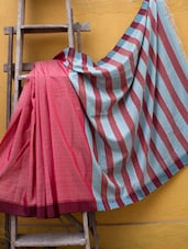 Pink Reshum Silk Saree With Blue Stripes - Cotton Koleksi