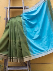 Green And Light Blue Cotton Silk Saree - Cotton Koleksi