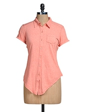 Solid Peach Asymmetrical Shirt - Mishka