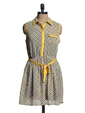 Yellow And White Printed Collared Dress - Mishka