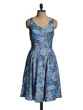 Blue Sleeveless Printed Dress - Mishka