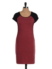 Red And Black Striped Dress - Colbrii
