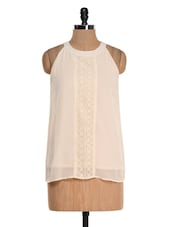 Beige Halter Neck Lace Top - Colbrii