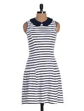 Cute White And Blue Striped Dress - Colbrii