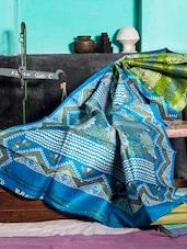 Moss Green And Firoza Blue Saree - Murshidabadi Silk