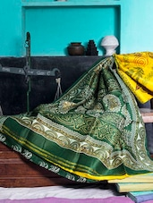 Bright Yellow And Green Printed Saree - Murshidabadi Silk