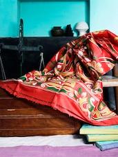 Red Block Printed Silk Saree - Murshidabadi Silk