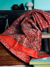 Printed Red Silk Saree - Murshidabadi Silk