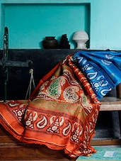 Orange And Firoza Blue Silk Saree - Murshidabadi Silk