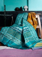 Turquoise And Mustard Printed Saree - Murshidabadi Silk