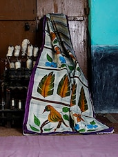 Multicolor Hand Printed Silk Saree - Murshidabadi Silk