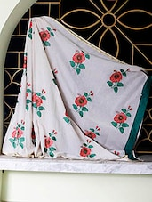 Off-white Saree With Red And Green Embroidery - SaDaF