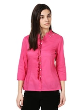 Pink Shirt With A Frilled Neck And Placket - Citrine
