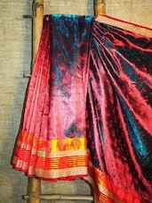 Pink And Peacock Blue Banarasi Saree - BANARASI STYLE