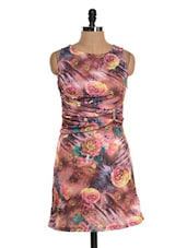 Multicoloured Floral Dress With Gathering At Waist - Glam And Luxe