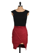 Black And Maroon Half And Half Dress - Glam And Luxe