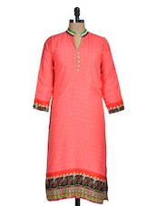 Red Printed Kurti With Tricolour Border - Rainbow Hues