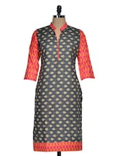 Chic Black Kurti With Beige Print - Rainbow Hues