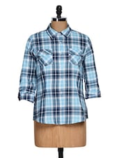 Roll-up Sleeve Sky Blue Checkered Shirt - Overdrive