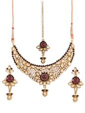 Stone-studded Necklace, Earrings And Maangtika Set - Vendee Fashion