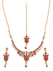 Pink Stone-studded Necklace, Earrings And Maangtika Set - Vendee Fashion