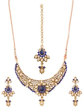 Blue And White Stone-studded Necklace, Earrings And Maangtika Set - Vendee Fashion