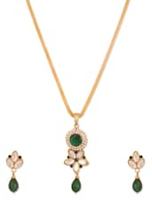 Green Embellished Pendant Set And Earrings - Vendee Fashion
