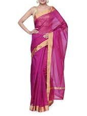 Luxe Pink Tussar Silk Saree - Purple Oyster